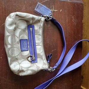 Tan & Purple Coach Purse